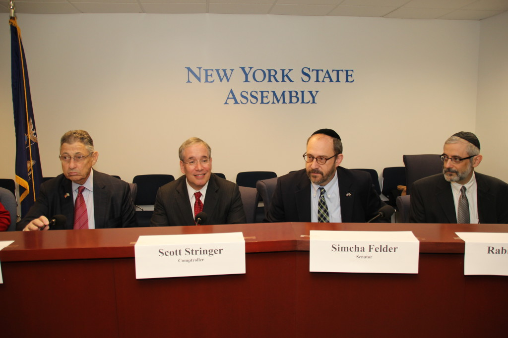 Senator Simcha Felder, Comptroller Scott Stringer and Rabbi Chaim Dovid Zwiebel at Special Education Meeting at New York State Assembly