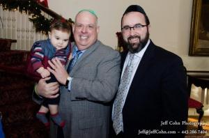 Governor Hogan and Rabbi Ariel Sadwin and son Elie
