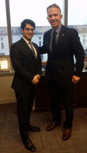 Rabbi Yitz Frank meeting with Ohio State Representative Andy Thompson (R-Marietta) about upcoming legislation