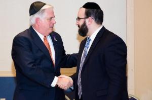 MD Governor Larry Hogan with Rabbi Ariel Sadwin, director Agudath Israel Mid-Atlantic region