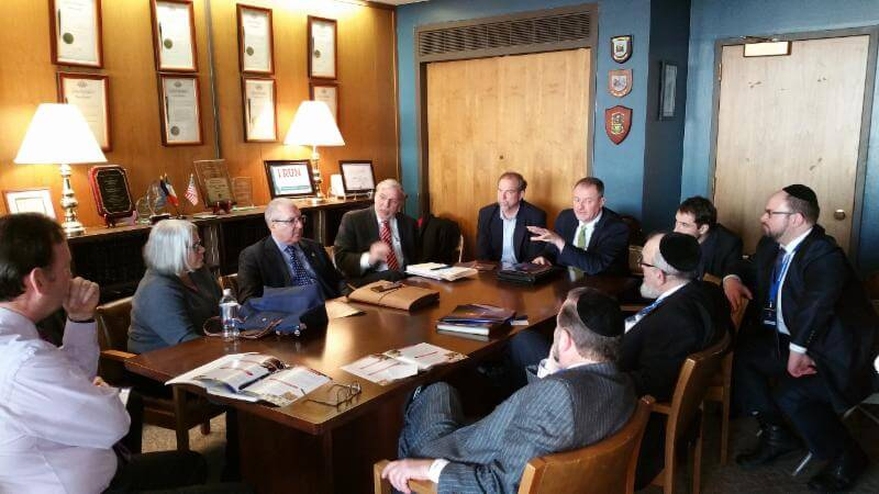 Rabbi Shmuel Lefkowitz, Agudath Israel's vice president for community services together with a delegation of community leaders meeting with Assembly members to discuss this year's AIA agenda, this past Monday.