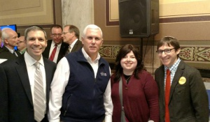 Yehudah Seligson, Indiana Governor Mike Pence, Mrs. Samara Gold and Shlomo Wadler at Indiana's Quality Education Celebration