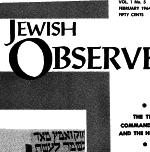 The Jewish Observer Vol. 1 No. 5 Febraury 1964/Adar 5724