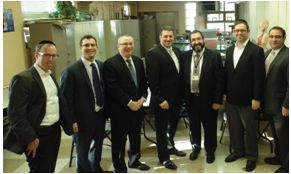 (L-R) LLI Member Shmuel Kazarnovsky, LLI Member Yossi Newman, Aaron Cyperstein (Board Member, Bais Yaakov of Queens), Senator Addabbo, Rabbi Pinchas Avruch (Executive Director, Bais Yaakov of Queens), LLI member Nechemiah Hoch and Yoni Dembitzer (Staff to Senator Addabbo) during the Senator's trip to Bais Yaakov of Queens.