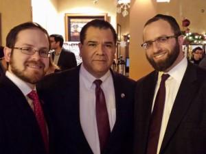 Rabbi A.D. Motzen, Agudath Israel of America's national director of state relations; Senator Martin Sandoval (D-Chicago) and Rabbi Yitzchok Ehrman, COO of Agudath Israel of Illinois.