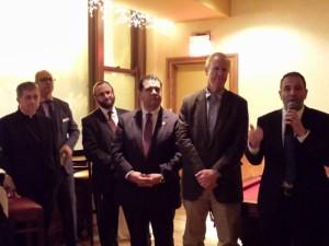 Archbishop Cupich, Archdiocese of Chicago; Myles Mendoza, EdChoice Illinois; Rabbi Yitzchok Ehrman; Agudath Israel of Illinois; Sen. Martin Sandoval; Governor-elect Bruce Rauner and Michael Milkie, Noble Street Charter Schools