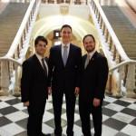 Rabbi Yitz Frank, Ohio director; Ohio Treasurer Josh Mandel and Rabbi A.D. Motzen, national director of state relations