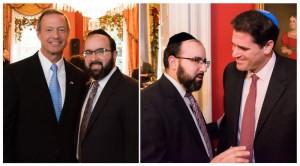 Rabbi Ariel Sadwin with Governor Martin O'Malley (left) and Israeli Ambassador Ron Dermer (right)