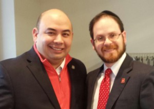 Rabbi Motzen congratulating new Speaker of the Ohio House of Representatives Cliff Rosenberger.