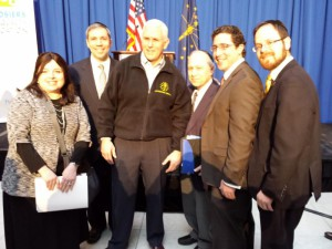 Governor Mike Pence with part of the South Bend delegation. L-R: Mrs. Samara Gold, Yehuda Seligson, Gov. Mike Pence, Mike Lerman, Avromi Klor, and Rabbi A.D Motzen