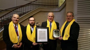 Dr. Merle Skinner, PACAPE chairman; Rabbi Ariel Sadwin;  Sen. Dominic Pileggi; Sean McALeer, PA Catholic Conference