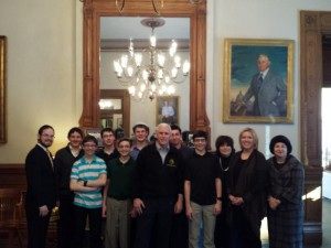 Students and leadership of Hasten Hebrew Academy with Governor Mike Pence