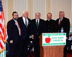At the School Advocacy Rally (left-right): Rabbi Sadwin; Senate President Mike Miller; Governor Larry Hogan; Archbishop of Baltimore, William Lori; Senator Ed DeGrange