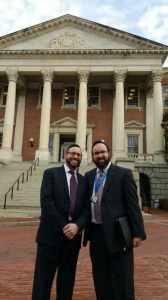 Rabbi Yaacov Cohen, executive director, Talmudical Academy of Baltimore and Rabbi Sadwin in front of the State House.