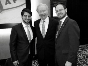 Agudath Israel's Ohio director Rabbi Yitz Frank, former Senator Joe Lieberman, Rabbi A.D. Motzen