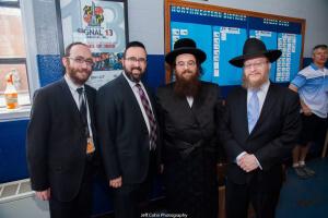 (L-R) Rabbi Chesky Tenenbaum, Rabbi Sadwin, Rabbi Yissochor Dov Eichenstein, Rabbi Jonthan Seidemann