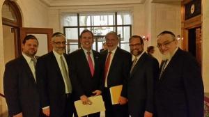 L to R: Chaskel Bennett, Rabbi Caim Dovid Zwiebel, Assemblyman Michael Cusick, Assemblyman Dov Hikind, Leon Goldenberg Rabbi Shmuel Lefkowitz