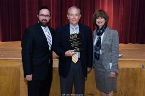 L-R - Rabbi Sadwin, Mr. Ron Goldblatt (recipient of 2015 Civic Achievement award), Mrs. Zipora Schorr, Director of Education at Beth Tfiloh School