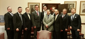 Leaders of the Orthodox Union, UJA-Federation of New York and Agudath Israel of America meet with State Senate Majority Leader John Flanagan. Pictured (l to r): Baruch Rothman, Rabbi Shai Markowitz of Agudath Israel, Shelly Fine, Senate Majority Leader Flanagan, Yaakov Berger, Jake Adler of OU Advocacy, Jeff Leb of the UJA-Federation of New York, Simcha Levi, Barry Lovell, and Jared Arader of the UJA-Federation of New York