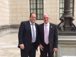 Rabbi Avi Schnall and Assemblyman Gary Schaer  (D-Passaic)