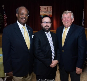 "Senator Nathaniel McFadden (recipient of 2015 ""Champion of Education"" award), Rabbi Sadwin, Senator Ed DeGrange (2013 awardee)."