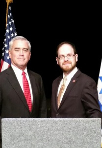 Congressman Wenstrup and Rabbi Motzen at the press conference following the roundtable discussion on Iran