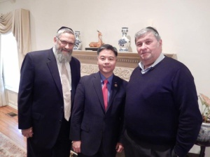 "Pictured (L to R)  Dr. Irving Lebovics, Congressman Ted Lieu, Moshe Braun (grandfather of Chaya Zisel Braun H""yd, 3- month old baby killed in a terrorist attack in Jerusalem last year)"
