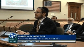 Rabbi A.D. Motzen giving testimony in TN