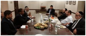 Agudath Israel leadership meeting New York Assemblyman Walter Mosley (D-57th District)