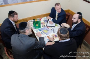 Pictured clockwise: Steve McAdams, Rabbi Sadwin, Mr. Eli Schlossberg, Mr, Nachy Schachter, Dr. Elimelech Goldstein