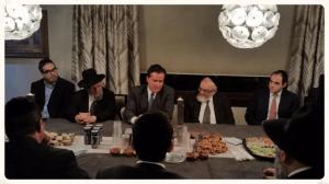 Senate Majority Leader John Flanagan meeting with Jewish community leaders at the home of Joel Edelstein, member of Agudath Israel's board of trustees.