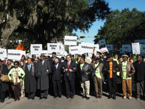 Martin Luther King III, Reverend R.B. Holmes, Rabbi Moshe Matz (Agudath Israel), Julio Fuentes (Hispanic CREO), leading 10,000 students and families in Tallahassee during a school choice rally.