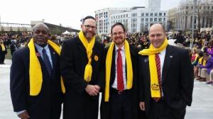 Representative Mike Glanton (D-75), Rabbi Yechezkel Freundlich, Head of School Yeshiva Ohr Yisroel, Rabbi A.D. Motzen, and Senator Hunter Hill (R-6)