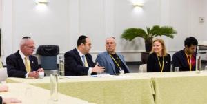 Assemblyman Gary Schaer (D-Passaic), Rabbi Avi Schnall, Agudath Israel's NJ director; Mr Eddie Missry president of Ilan High School; Assemblywoman Joann Downey (D-11); Vin Gopal, chairman Monmouth county democratic party