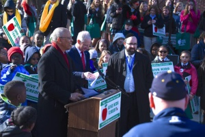 Lt. Governor Boyd Rutherford addresses 700 students and teachers at the annual nonpublic school advocacy rally with Rabbi Sadwin and Jim Sellinger, chancellor of the Archdiocese of Baltimore looking on.