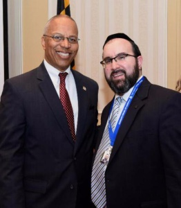 Maryland Lt. Governor Boyd Rutherford and Agudath Israel's Mid-Atlantic regional director Rabbi Ariel Sadwin at the Jewish Advocacy event.