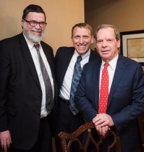 Rabbi Dovid Schnell, President of Agudath Israel of Illinois; Mr. Bruce Leon; IL Senate President, John Cullerton (D-6)