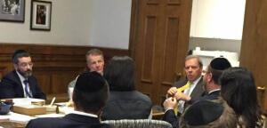 L- R Rabbi Shlomo Soroka, Agudath Israel Of Illinois' director of government affairs; Speaker Michael Madigan; Senate President John Cullerton; Rabbi Yehiel M. Kalish, CEO S4 Group