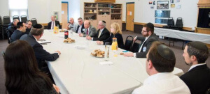 Rabbi Avi Schnall, Agudath Israel's NJ director discussing the importance of the security bill with Senator Peter Barnes D(18); Assemblyman Patrick J. Diegan Jr. (D-18); Assemblyman Gary Schaer (D-36); Assemblywomen Nancy Pinkin (D-18) and school leaders and administration at the Rabbi Pesach Raymon Yeshiva in Edison