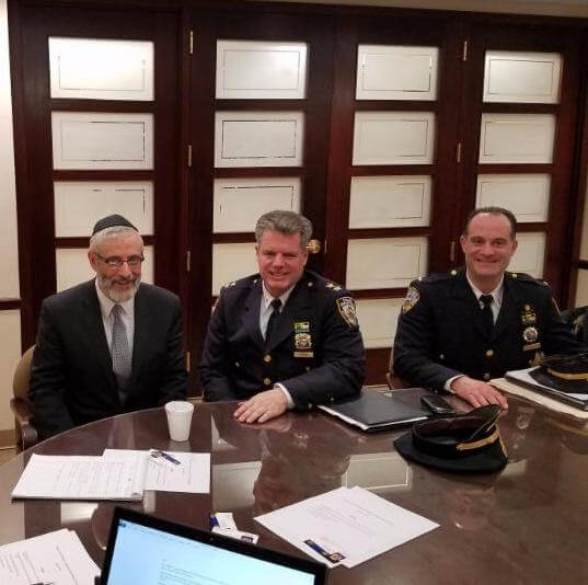 L to R: Rabbi Chaim Dovid Zwiebel, Agudath Israel's Executive Vice President; Assistant Chief Commanding Officer Brian Conroy, who works at School Safety Division and Lieutenant David Kalin, Counterterrorism/Field Intelligence Unit, who also works at the School Safety Division.