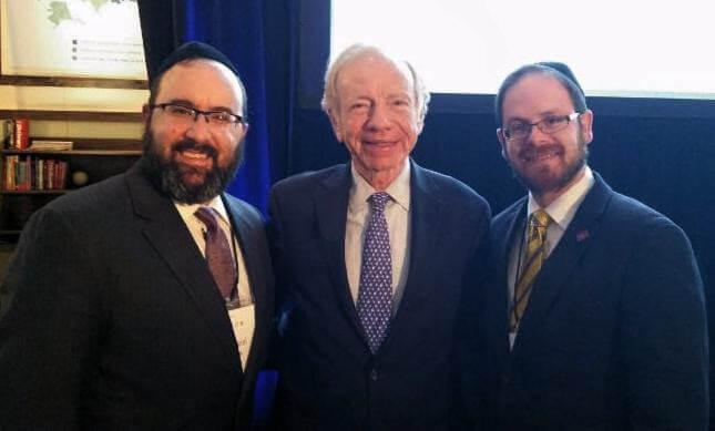 Rabbi Ariel Sadwin, Agudath Israel Mid-Atlantic Region director; AFC board member, former Senator Joseph Lieberman; Rabbi A.D. Motzen, Agudath Israel of America's national director of state relations