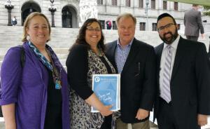 R-L: Rabbi Ariel Sadwin; PA State Senator Scott Wagner; Mrs. Shari Dym and Mrs. Rachel Zilbering, administrators at the Silver Academy of Harrisburg, PA