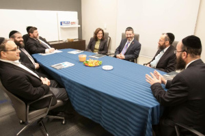 Illinois Secretary of Education Beth Purvis visiting Joan Dachs Bais Yaakov- Yeshivas Tiferes Tzvi. From L - R: Kenny Berger (JDBY-YTT board member); Rabbi Shmuel Tenenbaum, Mashgiach; Moshe Davis JDBY-YTT School President; Illinois Secretary of Education Beth Purvis; Rabbi Shlomo Soroka, director of government affairs, Agudath Israel of Illinois; Rabbi Ephriam Kletenik, Secular Studies Principal; Rabbi Nosson Muller, Principal